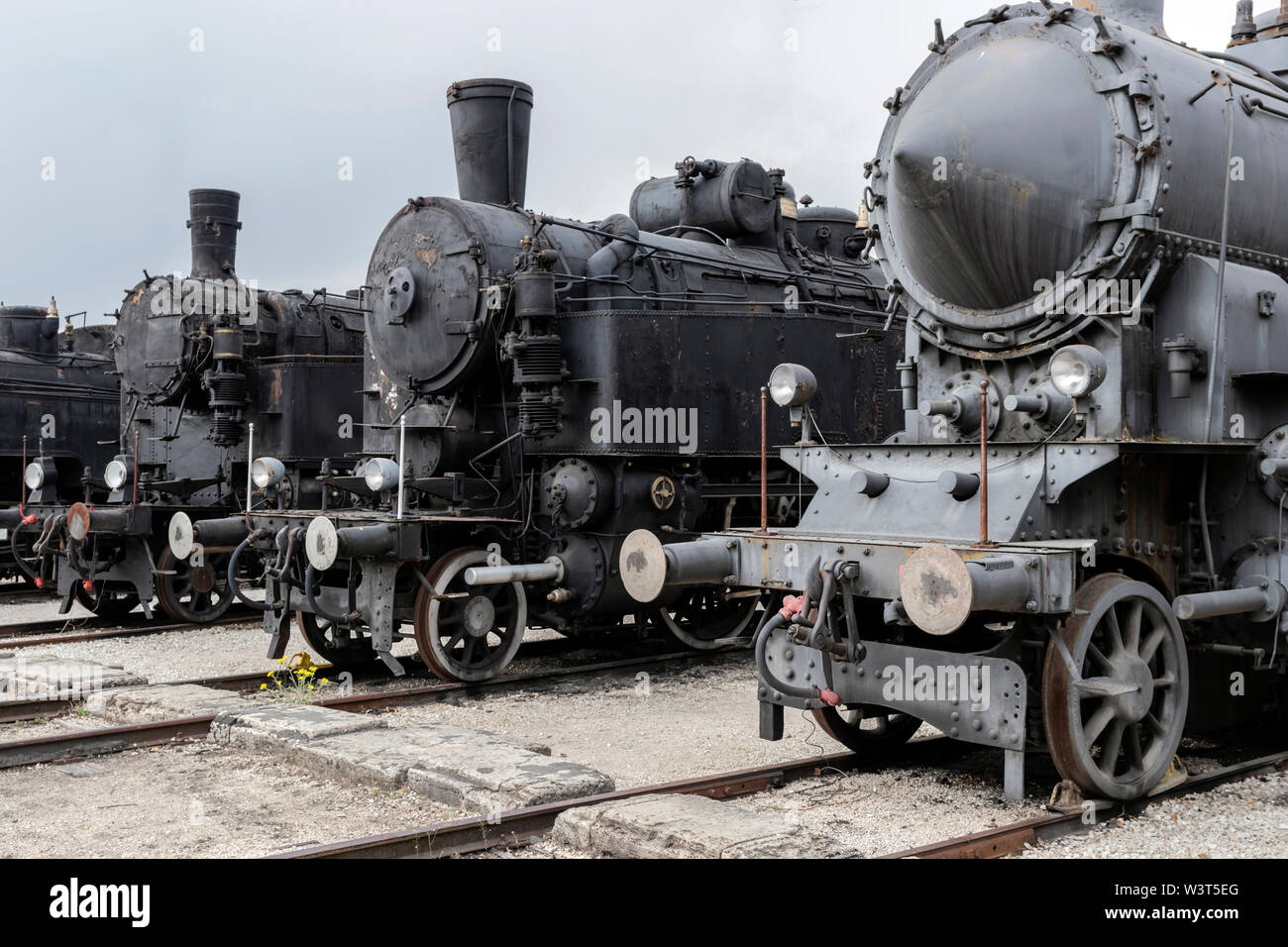 BUDAPEST, HUNGARY - April 05, 2019: Historic steam locomotives on display at the Hungarian Railway Museum. Stock Photo