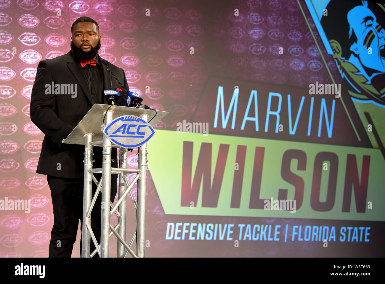 Charlotte, North Carolina, USA. 17th July, 2019. Florida State DT MARVIN WILSON speaking to reporters during the ACC Atlantic Division Coach/Student interviews on July 17, 2019 at the Westin Hotels & Resorts in Charlotte, N.C. Credit: Ed Clemente/ZUMA Wire/Alamy Live News - Stock Image