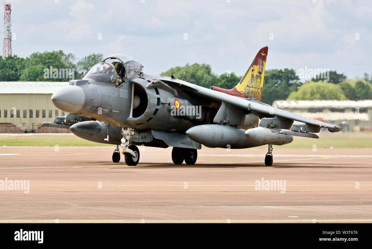 Spanish Navy EAV-8B Harrier II arriving at RAF Fairford to take part in the 2019 Royal International Air Tattoo Stock Photo