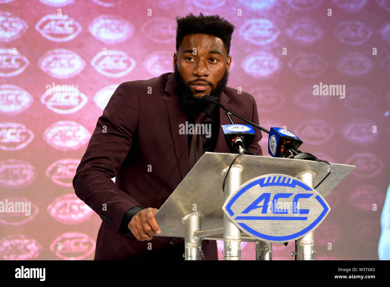 Charlotte, North Carolina, USA. 17th July, 2019. Florida State WR TAMDRRION TERRY speaking to reporters during the ACC Atlantic Division Coach/Student interviews on July 17, 2019 at the Westin Hotels & Resorts in Charlotte, N.C. Credit: Ed Clemente/ZUMA Wire/Alamy Live News - Stock Image