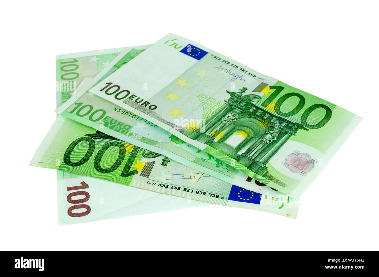 One hundred Euros banknotes isolated on a white background - Stock Image
