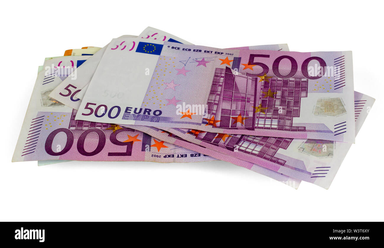 Five hundred Euros banknotes isolated on a white background - Stock Image