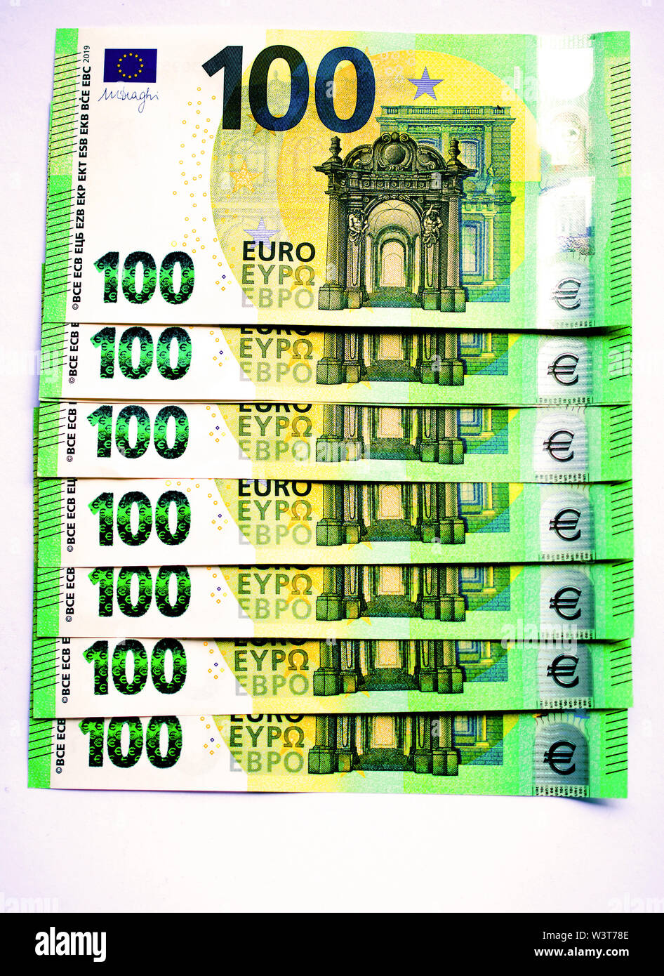 New 100 euro banknotes. Perfect good luck pictures, images and photos. - Stock Image