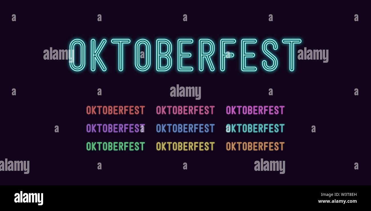 Neon text Oktoberfest, expressive Title. Set of glowing Oktober Fest headline in Neon style with transparent backlight. Vector kit, red pink purple vi - Stock Image