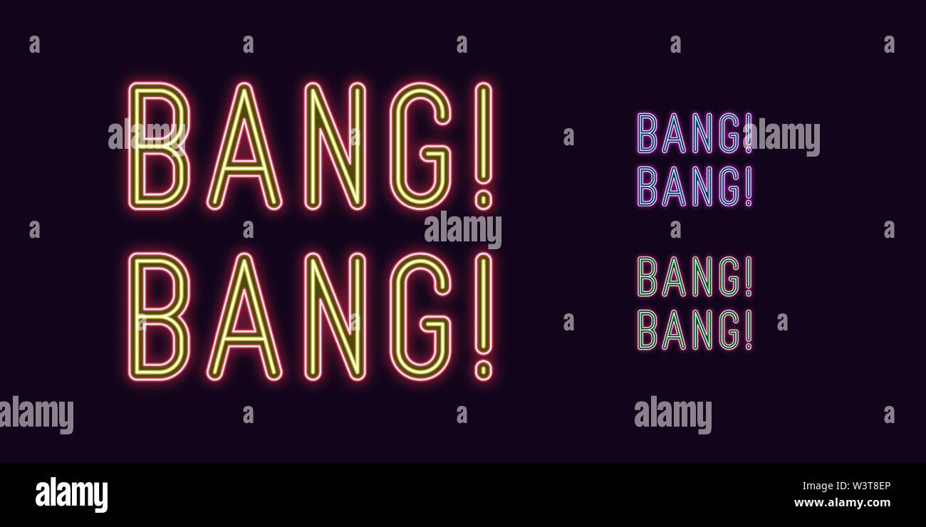 Neon text Bang Bang, expressive Title. Set of glowing Bang Phrase in Neon style with transparent backlight. Vector duotone kit, purple-blue red-yellow - Stock Image