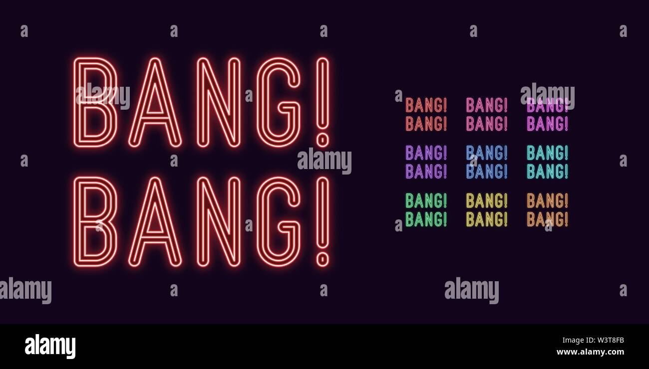 Neon text Bang Bang, expressive Title. Set of glowing Bang Phrase in Neon style with transparent backlight. Vector kit, red pink purple violet blue az - Stock Image
