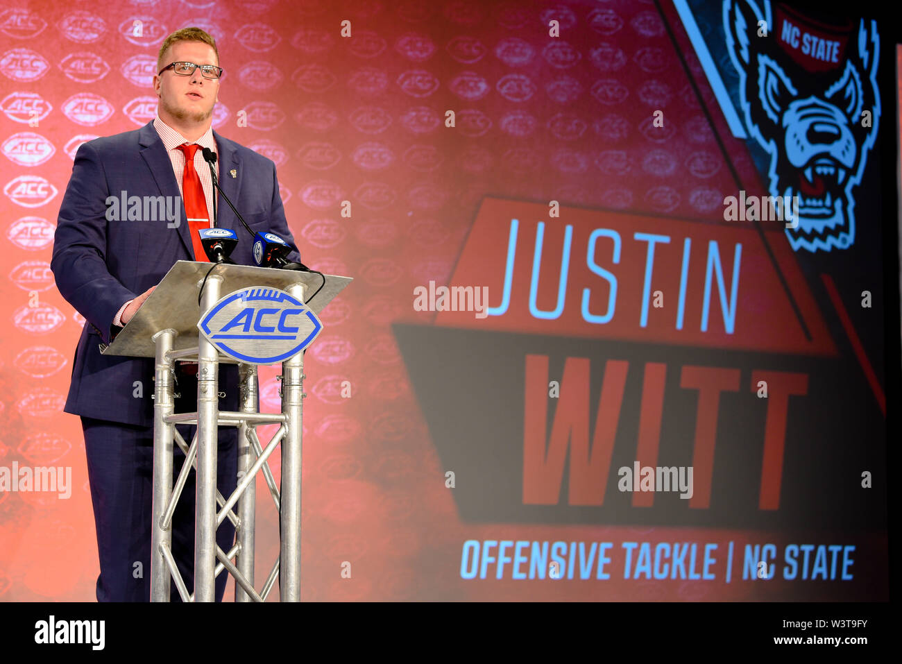 Charlotte, North Carolina, USA. 17th July, 2019. NC State JUSTIN WITT (OT) speaking to reporters during the ACC Atlantic Division Coach/Student interviews on July 17, 2019 at the Westin Hotels & Resorts in Charlotte, N.C. Credit: Ed Clemente/ZUMA Wire/Alamy Live News - Stock Image