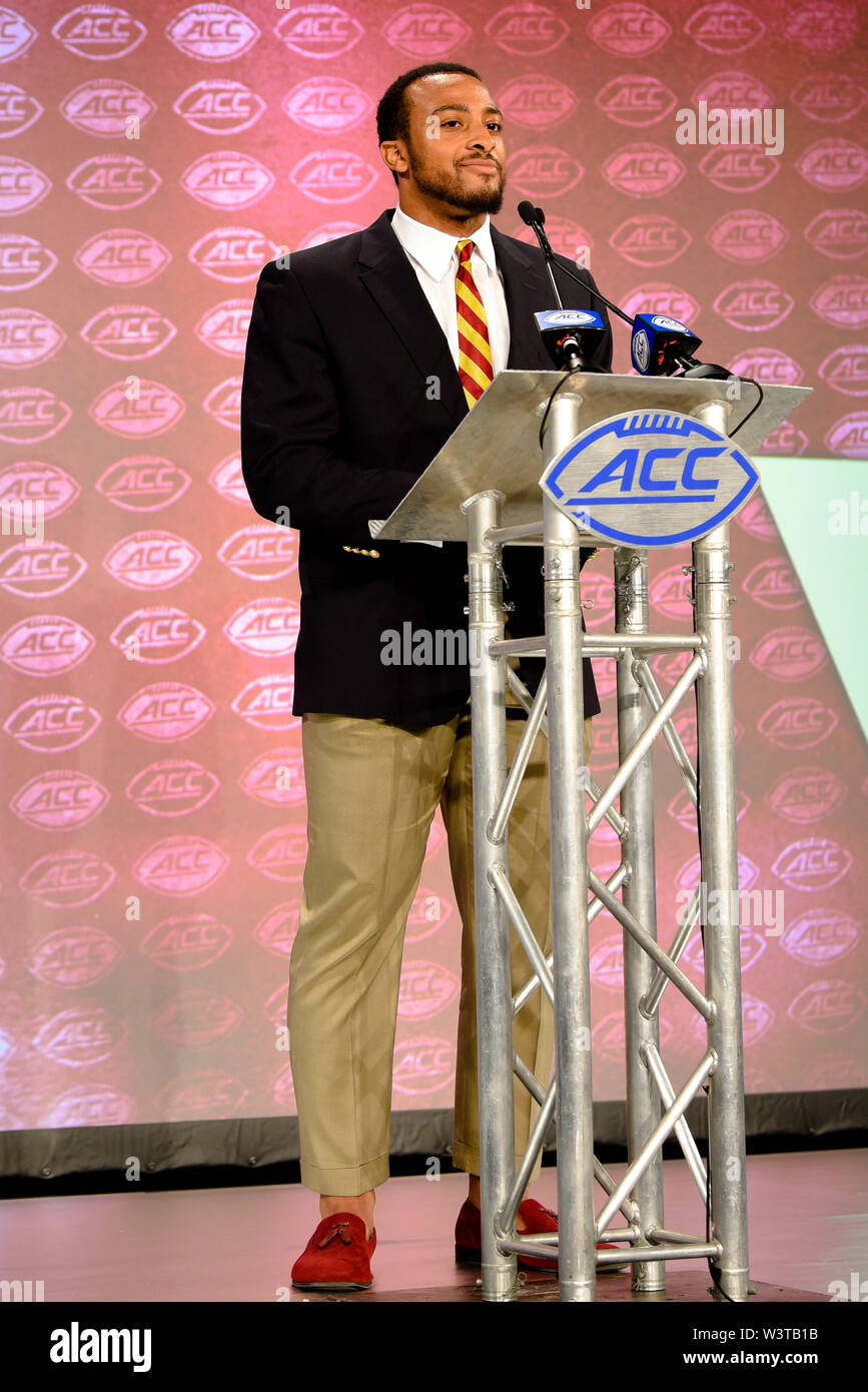 July 17, 2019 - Charlotte, North Carolina, U.S - Boston College AJ Dillon (RB) speaking to reporters during the ACC Atlantic Division Coach / Student interviews on July 17, 2019 at the Westin Hotels & Resorts in Charlotte, N.C. (Credit Image: © Ed Clemente/ZUMA Wire) - Stock Image
