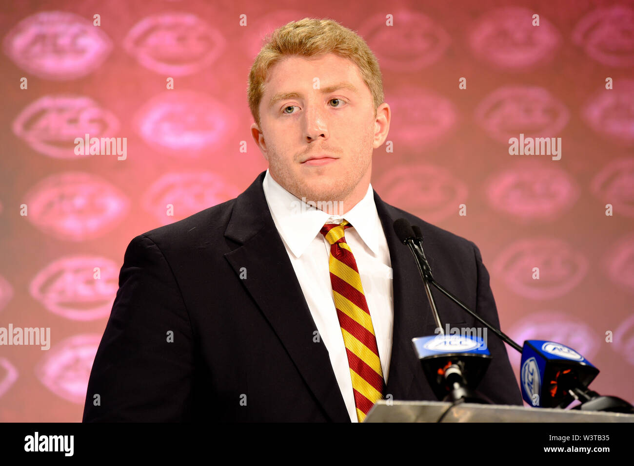 Charlotte, North Carolina, USA. 17th July, 2019. Boston College Tanner KARAFA (DT) speaking to reporters during the ACC Atlantic Division Coach/Student interviews on July 17, 2019 at the Westin Hotels & Resorts in Charlotte, N.C. Credit: Ed Clemente/ZUMA Wire/Alamy Live News - Stock Image