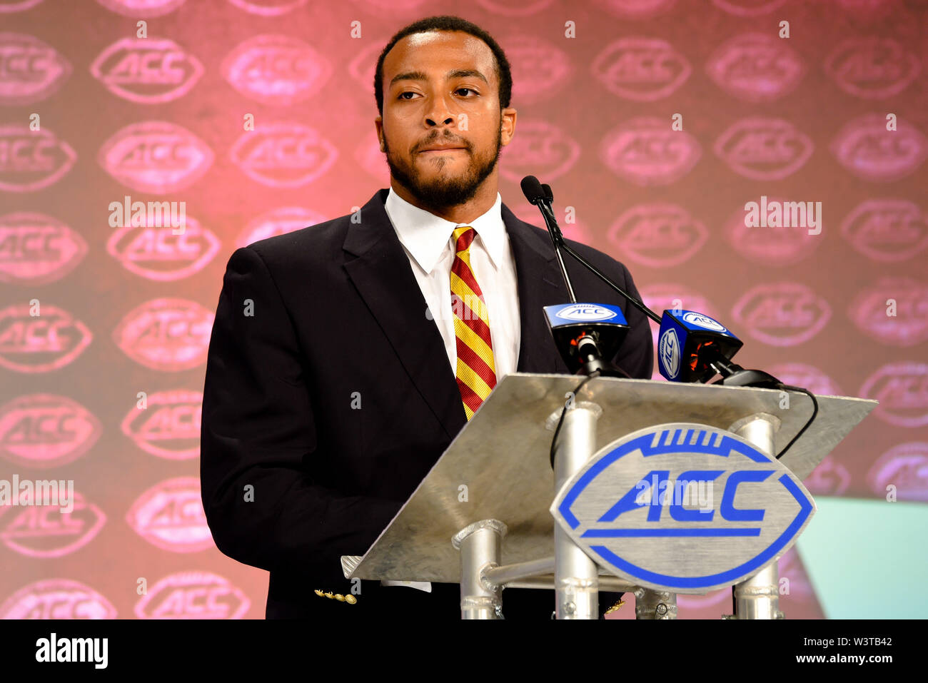 Charlotte, North Carolina, USA. 17th July, 2019. Boston College AJ Dillon (RB) speaking to reporters during the ACC Atlantic Division Coach/Student interviews on July 17, 2019 at the Westin Hotels & Resorts in Charlotte, N.C. Credit: Ed Clemente/ZUMA Wire/Alamy Live News - Stock Image