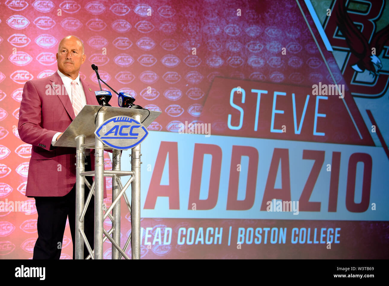 Charlotte, North Carolina, USA. 17th July, 2019. Boston College Head Coach STEVE ADDAVIO speaking to reporters during the ACC Atlantic Division Coach/Student interviews on July 17, 2019 at the Westin Hotels & Resorts in Charlotte, N.C. Credit: Ed Clemente/ZUMA Wire/Alamy Live News - Stock Image