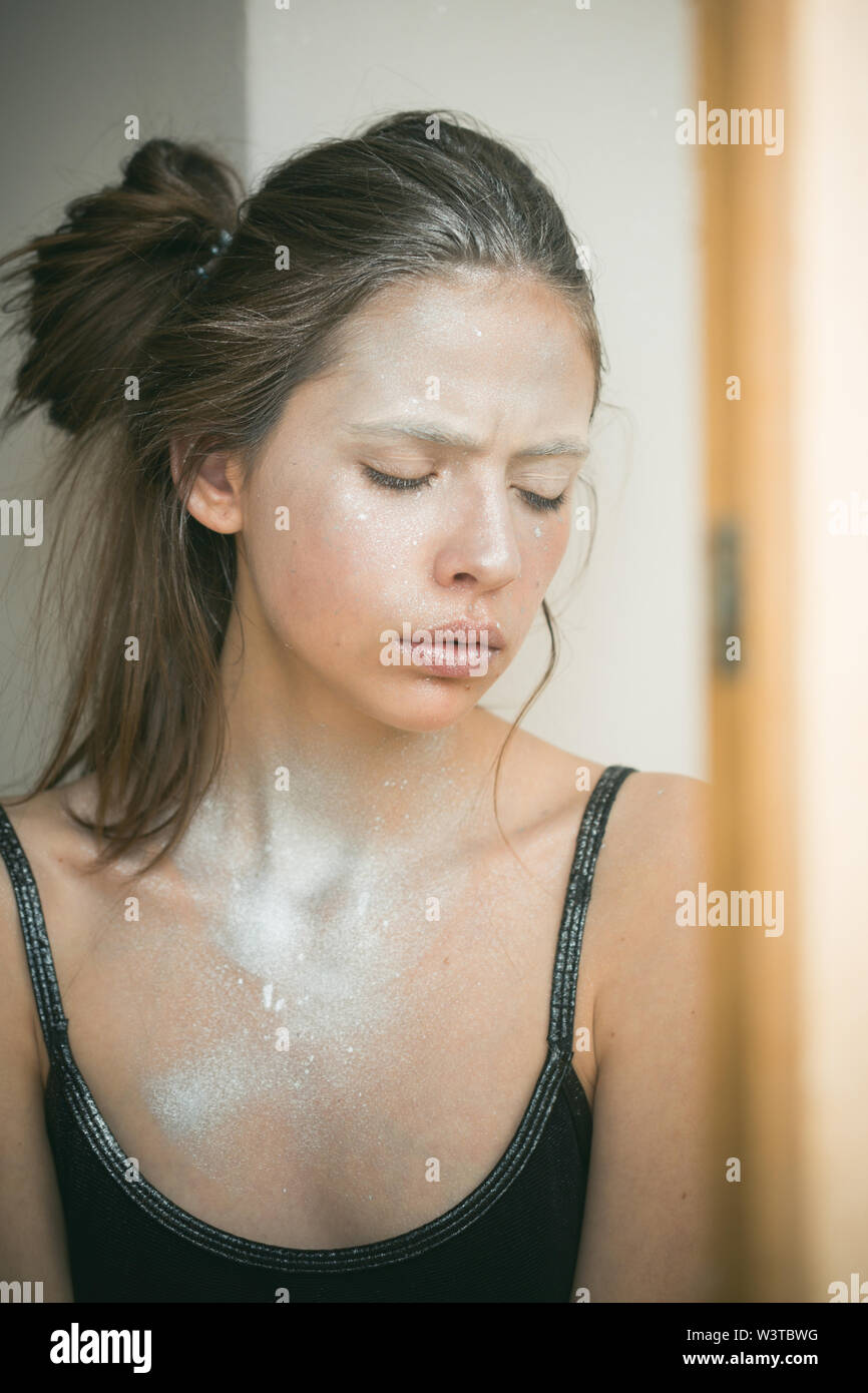 Woman face with silver body makeup.Woman with makeup and bodyart. Cosmetics for visage and skincare, hairdresser. Beauty and fashion girl graying - Stock Image