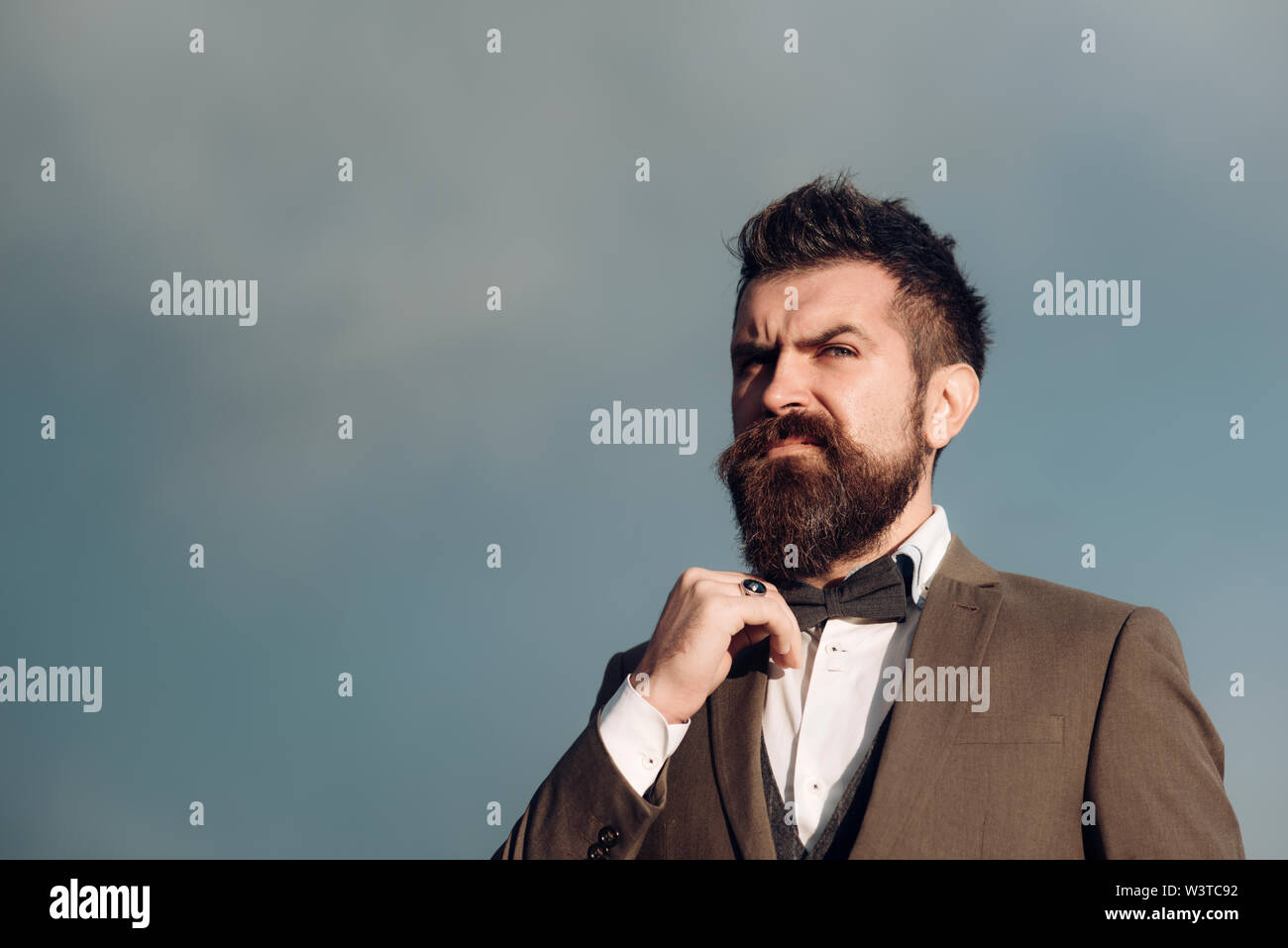 Guy with thoughtful face in classic suit touches bow tie. - Stock Image