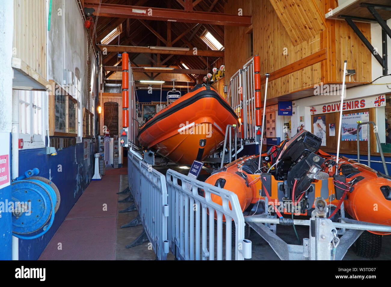 Interior of the Minehead RNLI Lifeboat Station - Stock Image