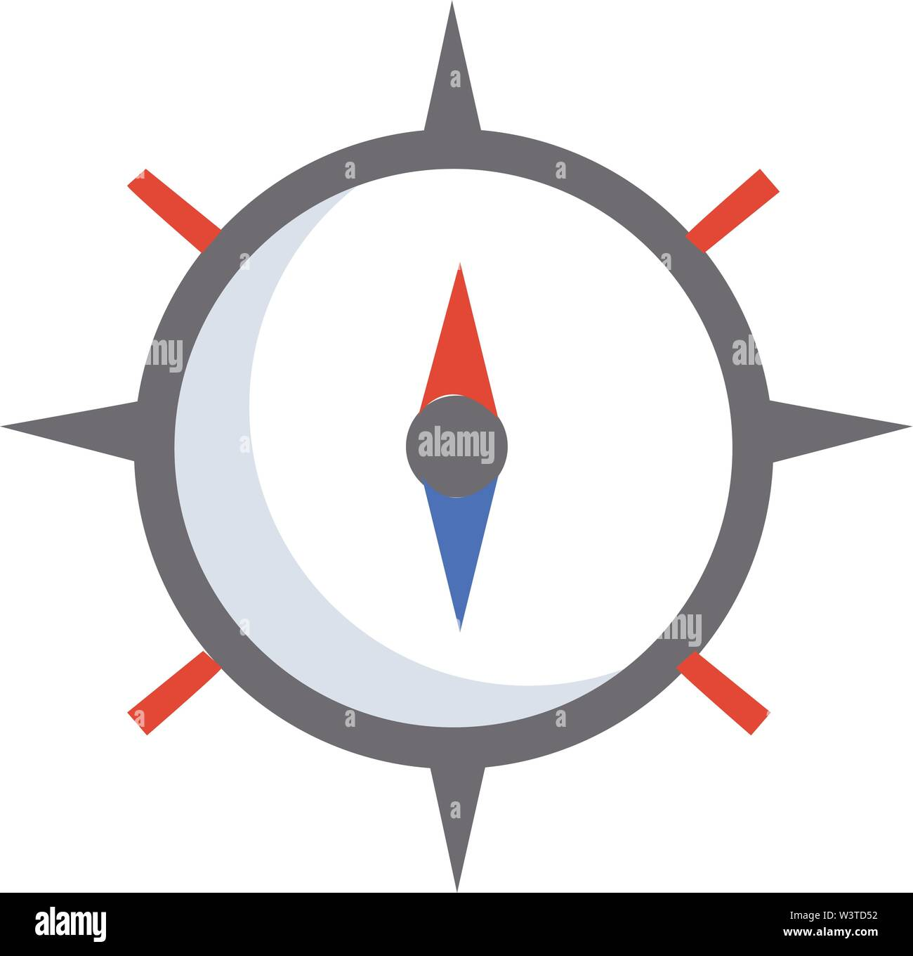 A brown compass with red and blue magnetic needle, vector, color drawing or illustration. - Stock Vector