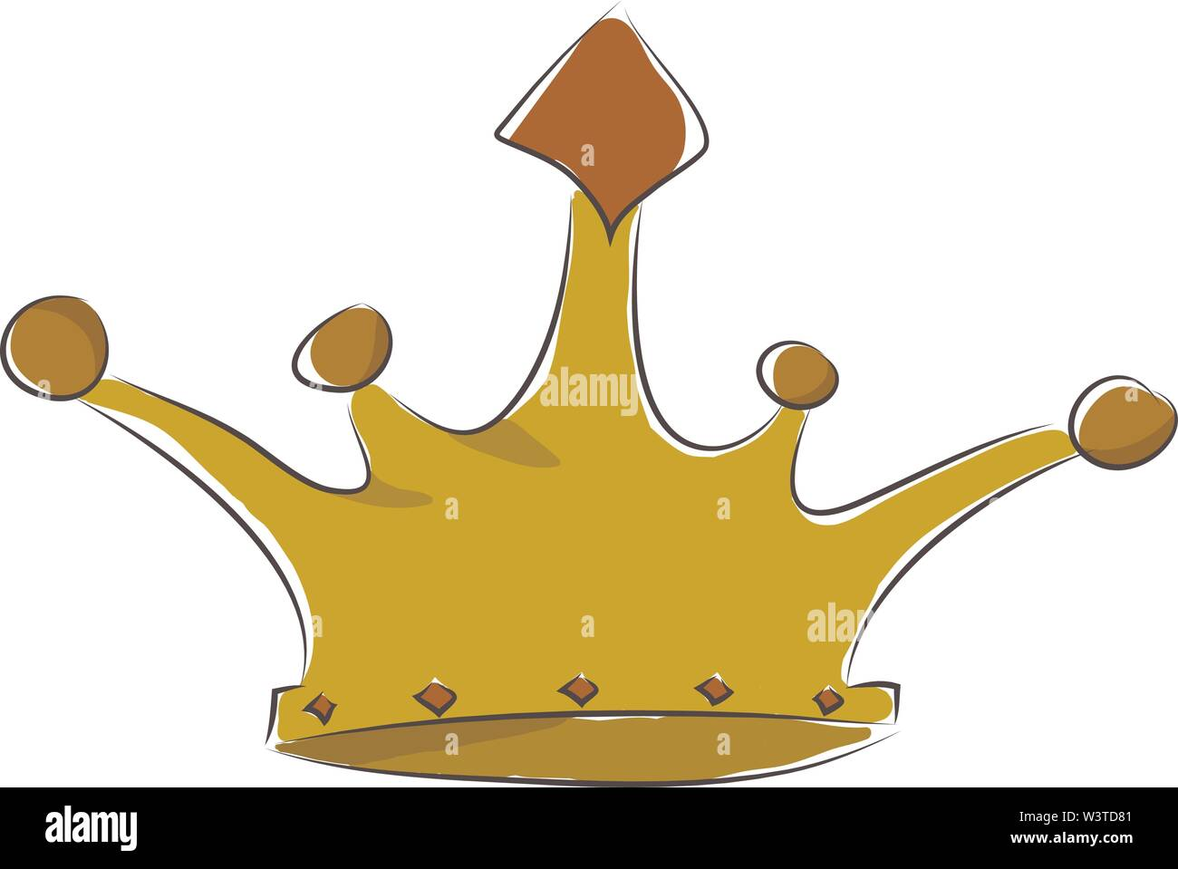 A shiny golden crown with red stone at the center, vector, color drawing or illustration. - Stock Image