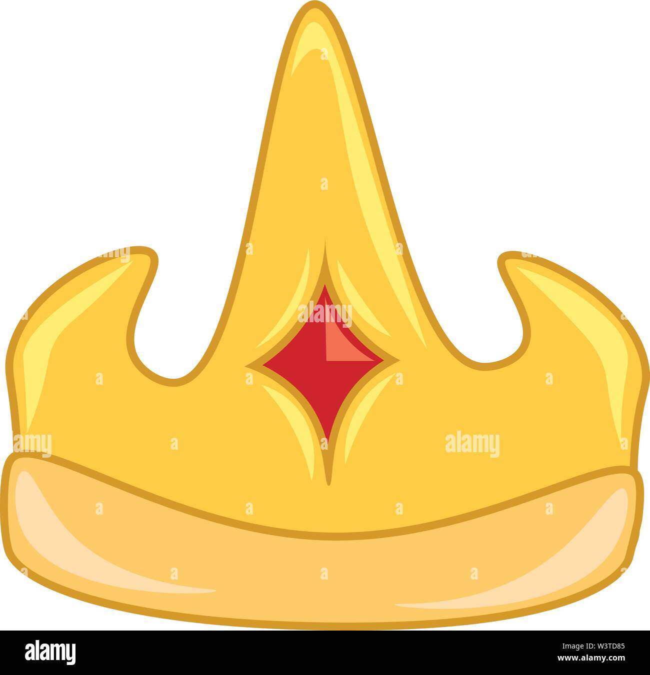 A golden crown with orange stone at the center, vector, color drawing or illustration. - Stock Image