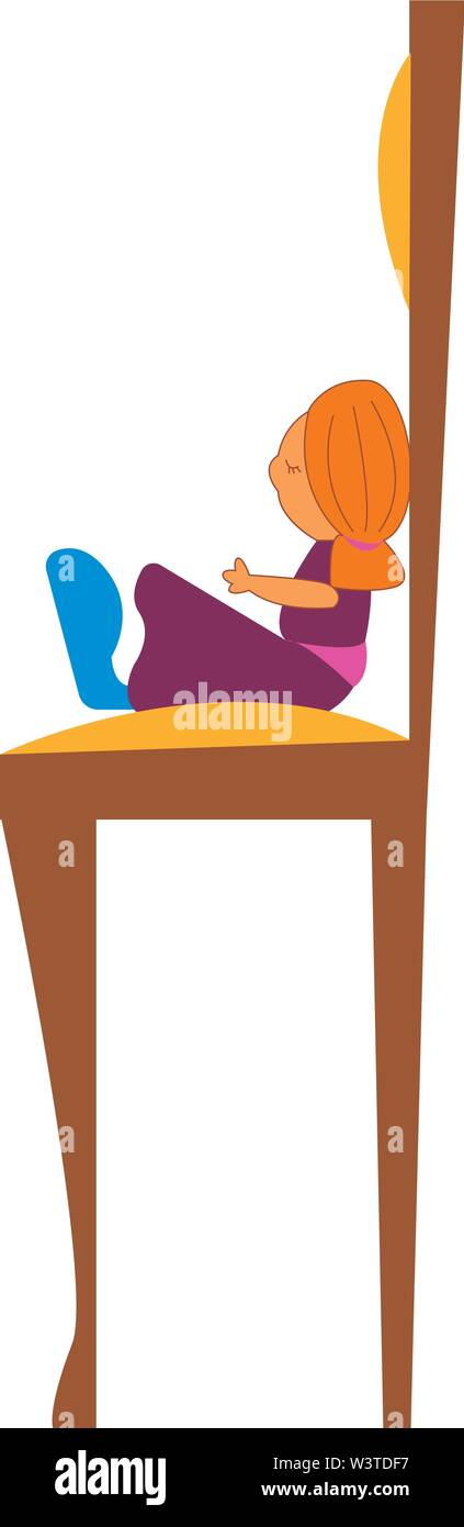 A doll with a purple dress sitting on the chair, vector, color drawing or illustration. - Stock Image