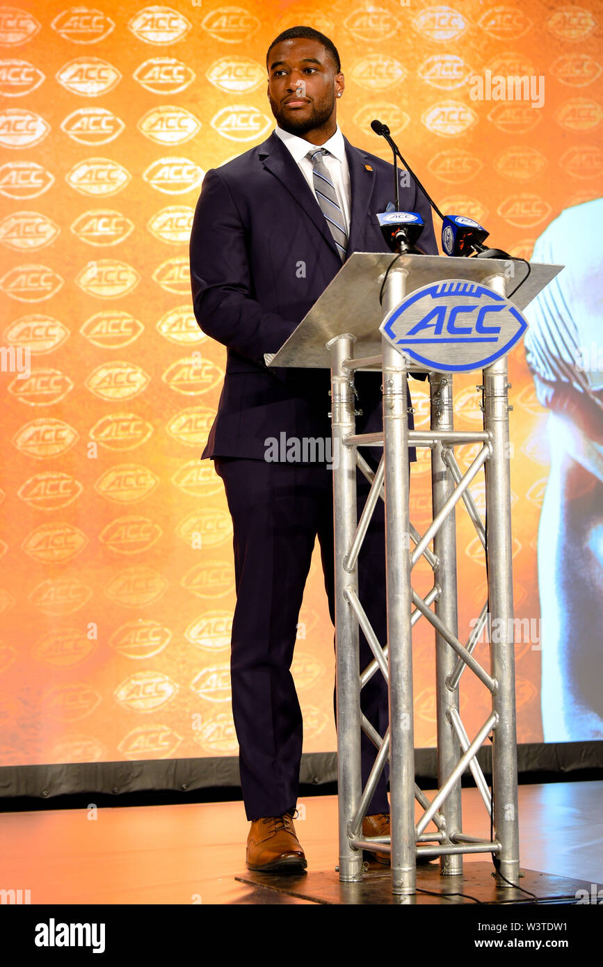 Charlotte, North Carolina, USA. 17th July, 2019. Syracuse KENDALL COLEMAN (DE) speaking to reporters during the ACC Atlantic Division Coach/Student interviews on July 17, 2019 at the Westin Hotels & Resorts in Charlotte, N.C. Credit: Ed Clemente/ZUMA Wire/Alamy Live News - Stock Image