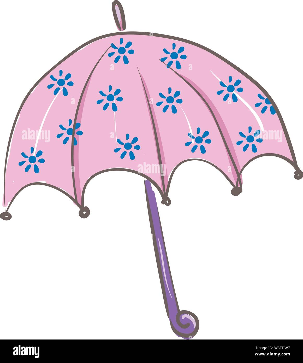 A Purple Colored Umbrella With A Blue Colored Flower Design Vector Color Drawing Or Illustration Stock Vector Image Art Alamy