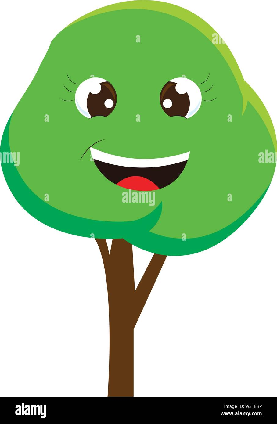 A Cartoon Of A Happy Tree With Big Eyes Vector Color Drawing Or Illustration Stock Vector Image Art Alamy