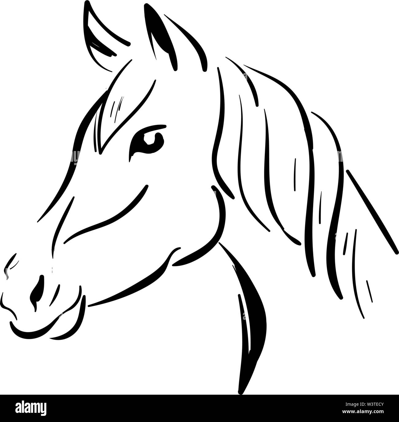 A Black Horse Sketch Vector Color Drawing Or Illustration Stock Vector Image Art Alamy