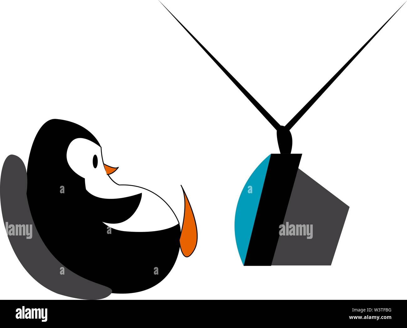 A penguin sitting and watching tv, vector, color drawing or illustration. - Stock Image