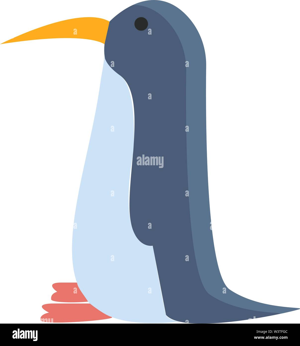 A small penguin in blue color with sharp yellow beak, vector, color drawing or illustration. - Stock Image