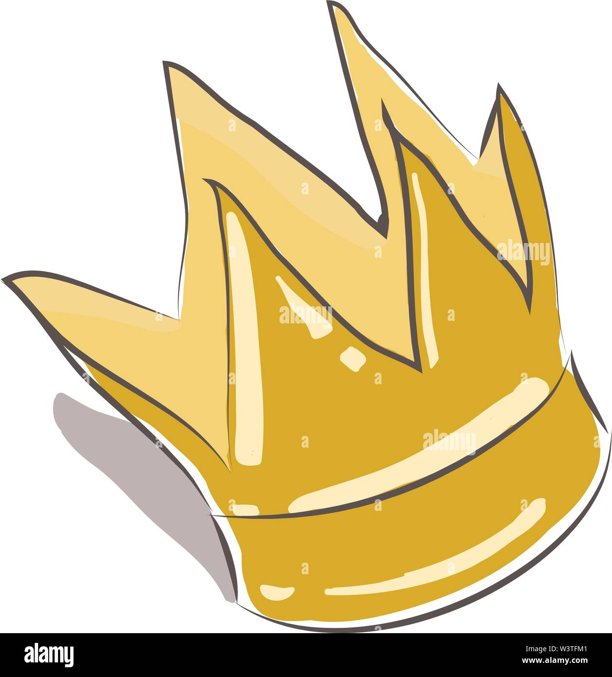 A small golden crown for a Prince, vector, color drawing or illustration. - Stock Image