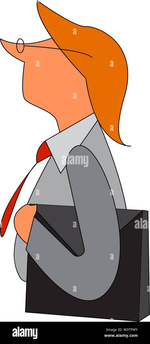 An old business man with a file in his hand wearing a red tie, vector, color drawing or illustration. - Stock Image