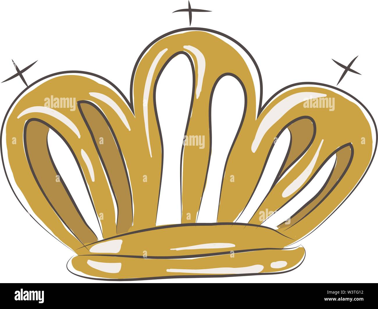 A royal shinning crown in gold, vector, color drawing or illustration. - Stock Image