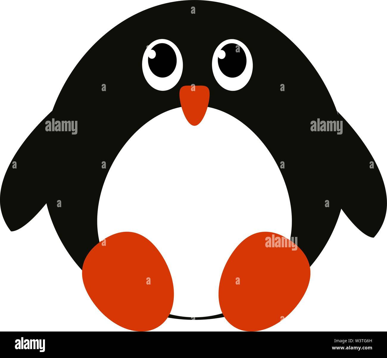 A cute baby penguin sitting with its beak in red color, vector, color drawing or illustration. - Stock Image