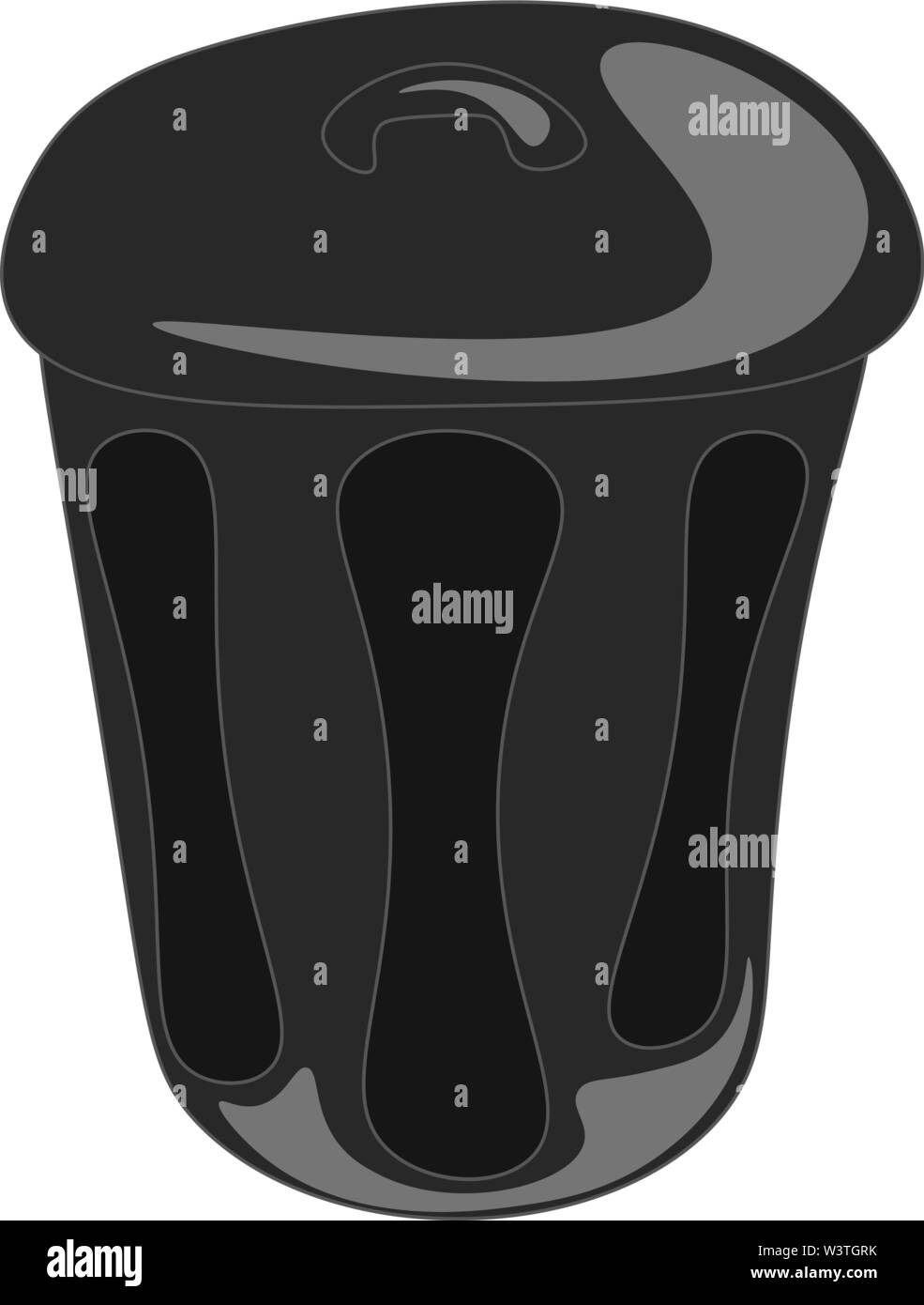 A closed black trashcan, vector, color drawing or illustration. - Stock Image