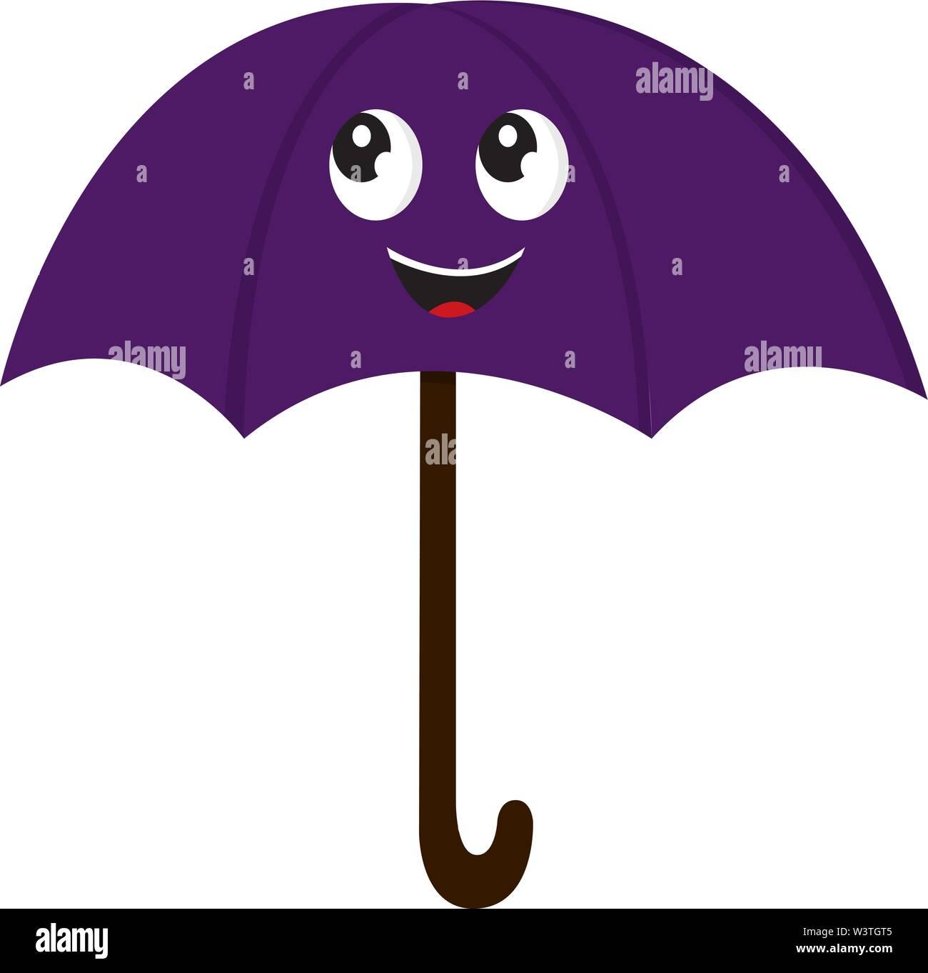 A Happy Purple Umbrella Vector Color Drawing Or Illustration Stock Vector Image Art Alamy