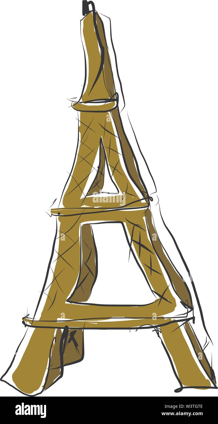 A beautiful Eiffel tower in metal, vector, color drawing or illustration. - Stock Image