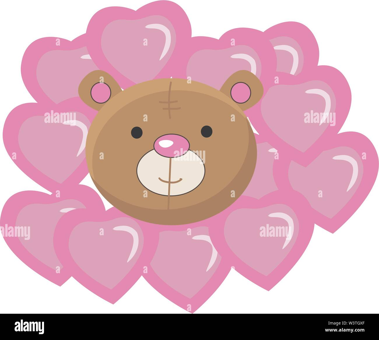 A valentine bear with lot of purple hearts, vector, color drawing or illustration. - Stock Image