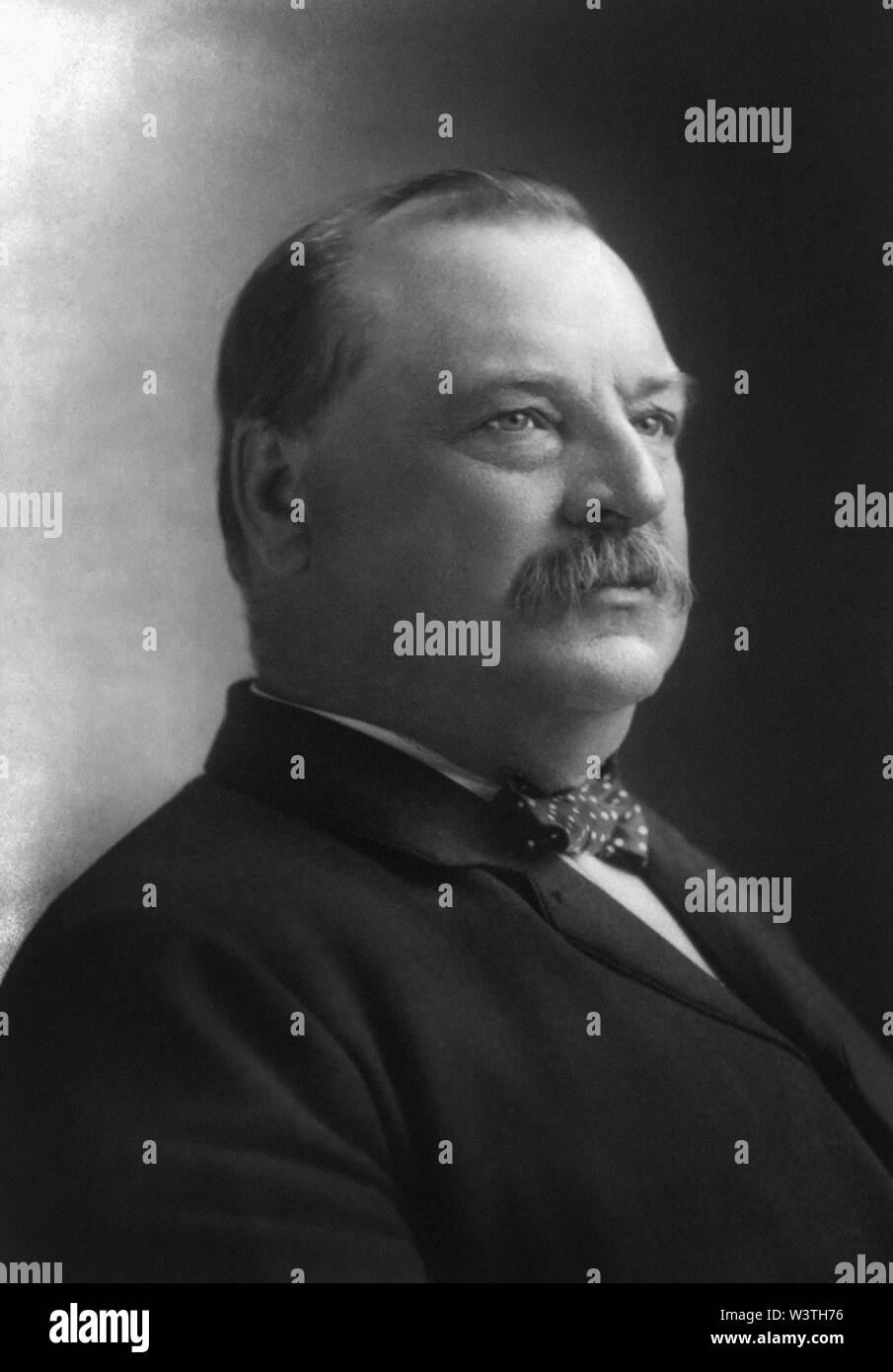 Grover Cleveland (1837-1908), 22nd and 24th President of the United States 1885–89 and 1893–97, Head and Shoulders Portrait, Photograph by N. Sarony, 1892 - Stock Image