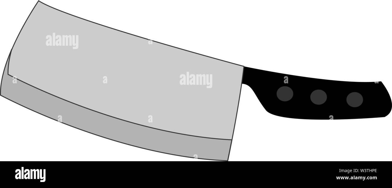 Big silver knife, illustration, vector on white background. - Stock Image