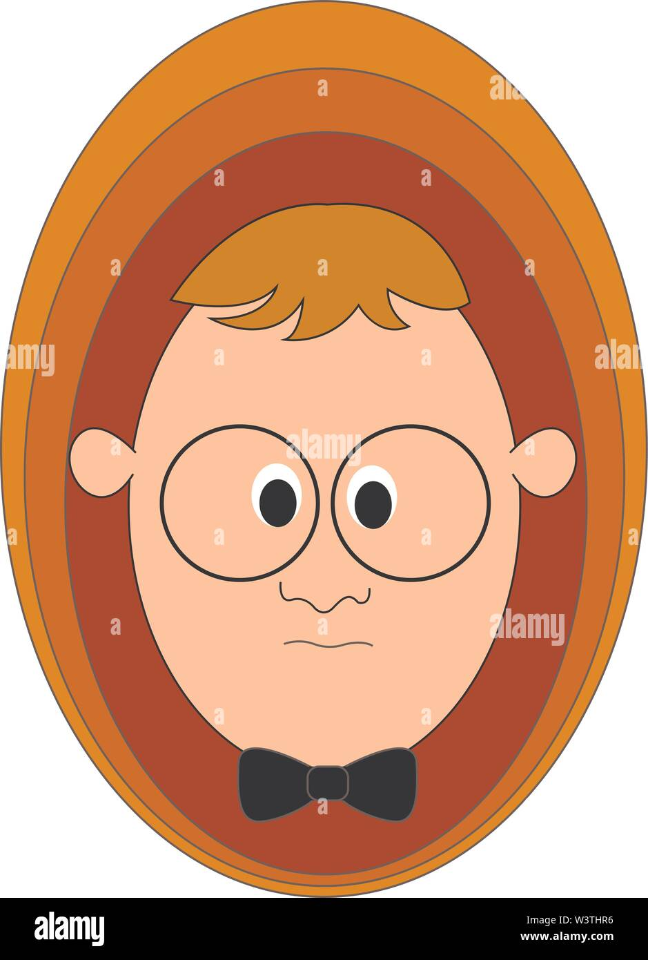 Boy with glasses, illustration, vector on white background. - Stock Image