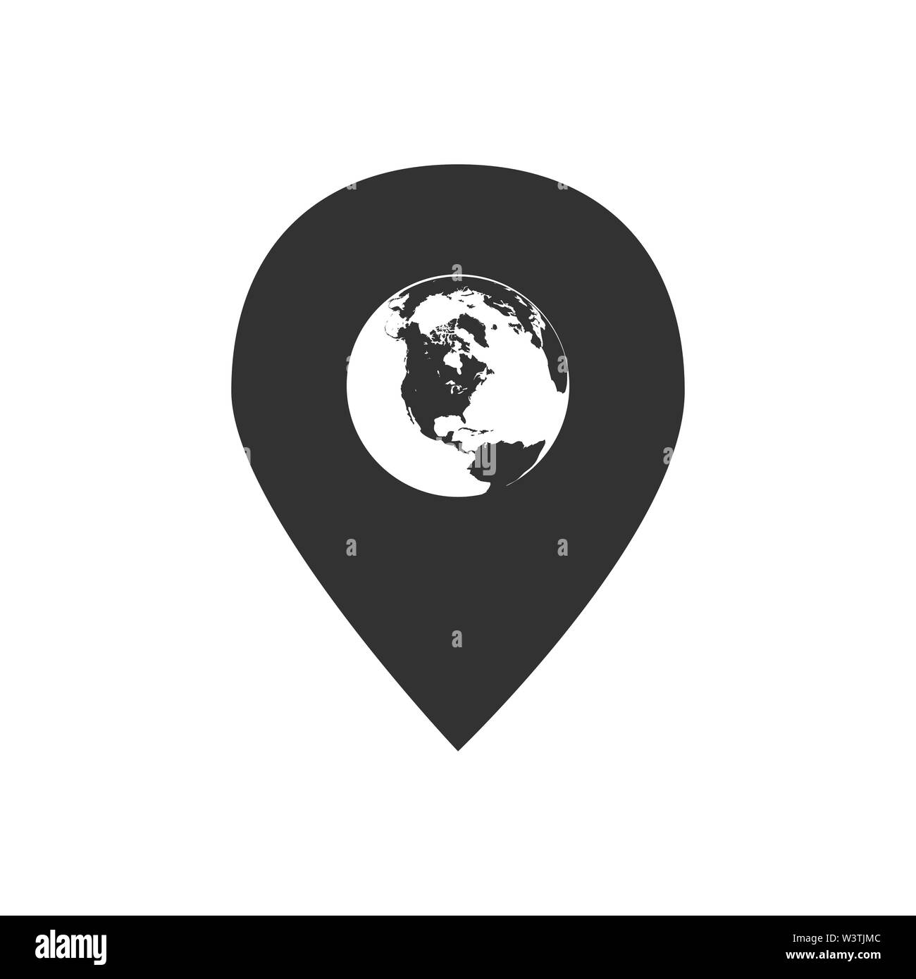 Globe inside Pin vector icon, Global Map Pointer. Vector illustration isolated on white . - Stock Vector