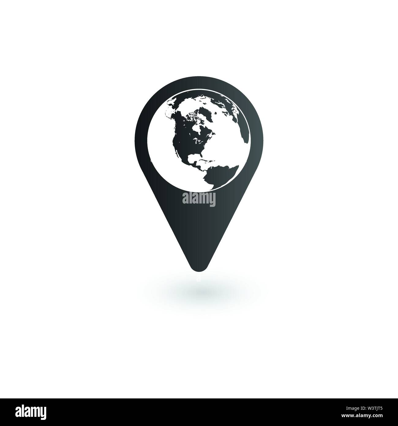 Globe inside Pin vector icon, Global Map Pointer. Vector illustration isolated on white. - Stock Vector