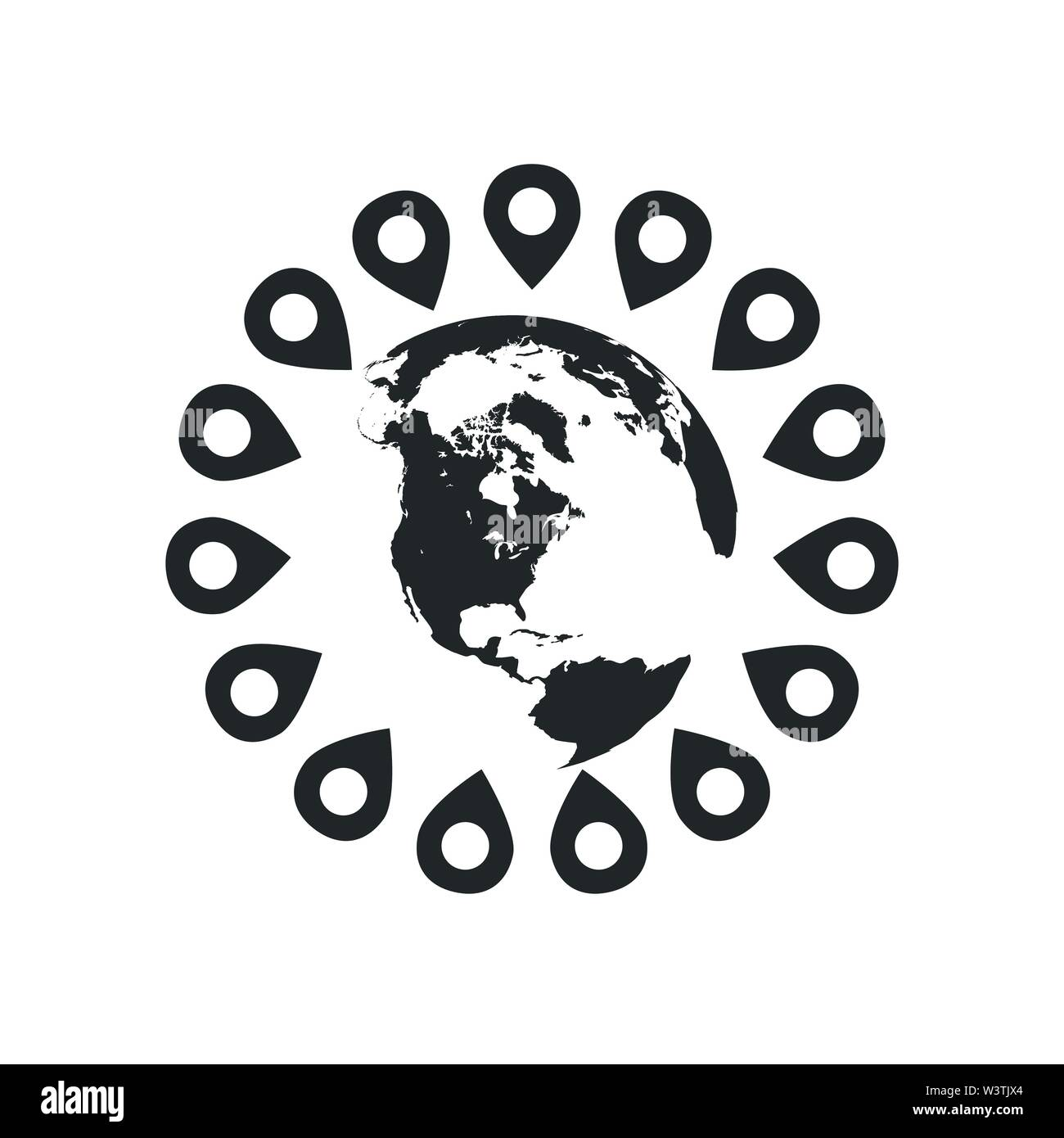 world map with pins around the globe. concept of trip around the world, globalization, geolocation search, tourism. Vector illustration isolated on wh - Stock Vector