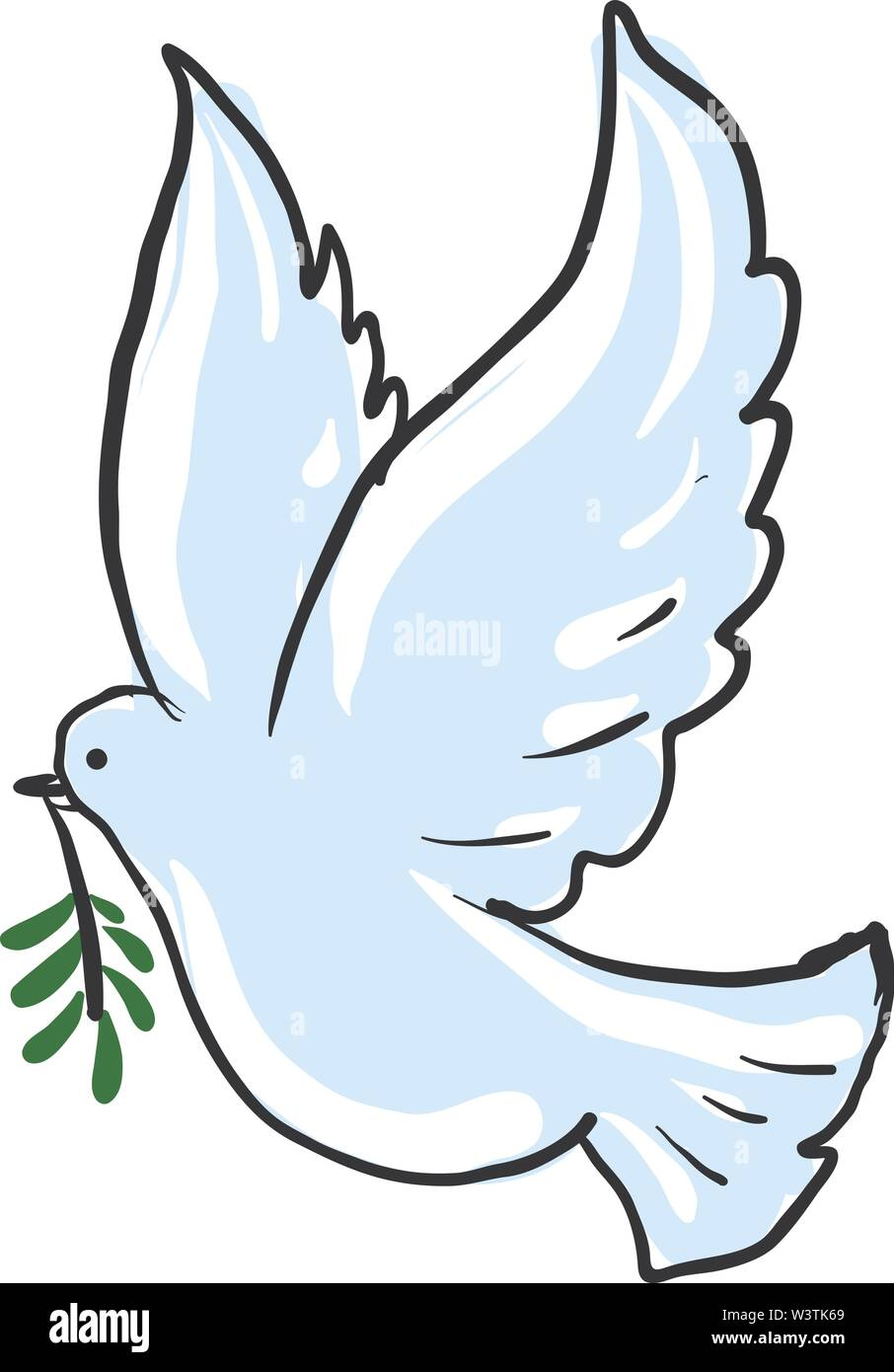 Dove Carrying Olive Branch Illustration Vector On White Background Stock Vector Image Art Alamy