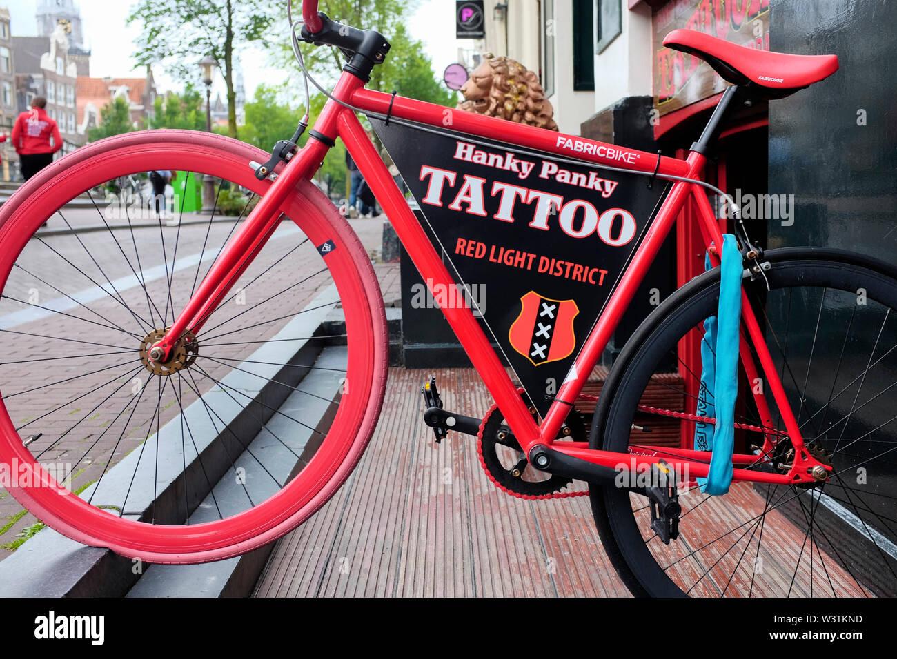 Henk Schiffmacher's Hanky Panky, Tattoo Parlour, Oudezijds Voorburgwal, Amsterdam, Netherlands - Stock Image