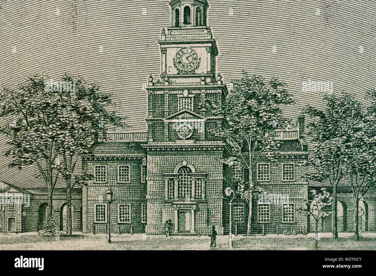 A fragment of a bill of 100 US dollars.Independence Hall - Stock Image