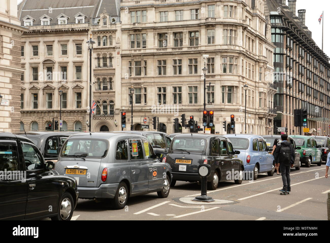 Black Cab Taxi Drivers demonstrate in central London 17th July 2019. Stock Photo