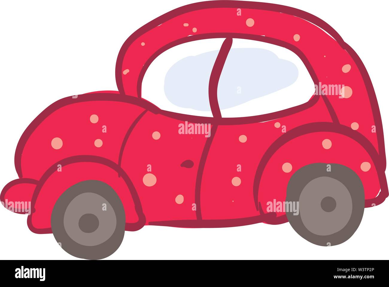 Pink car, illustration, vector on white background. Stock Vector