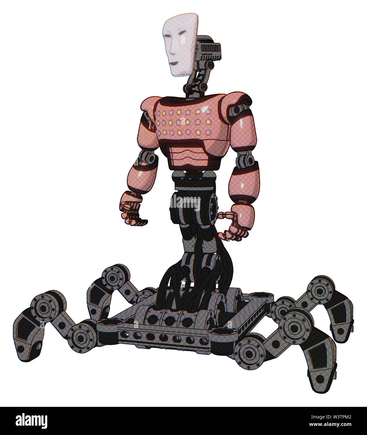 Bot containing elements: humanoid face mask, light chest exoshielding, chest green blue lights array, insect walker legs. Material: toon pink tint. Stock Photo