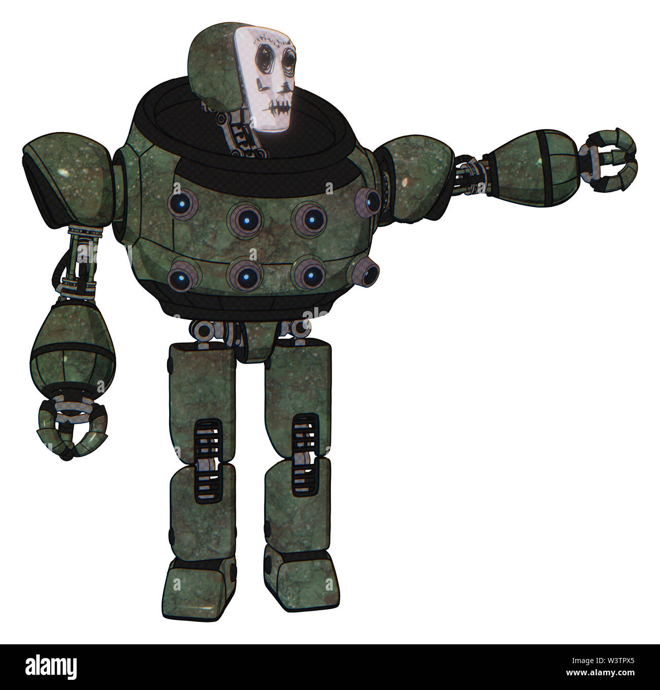 Bot containing elements: humanoid face mask, skeleton war paint, heavy upper chest, chest energy sockets, prototype exoplate legs. Material: old... Stock Photo