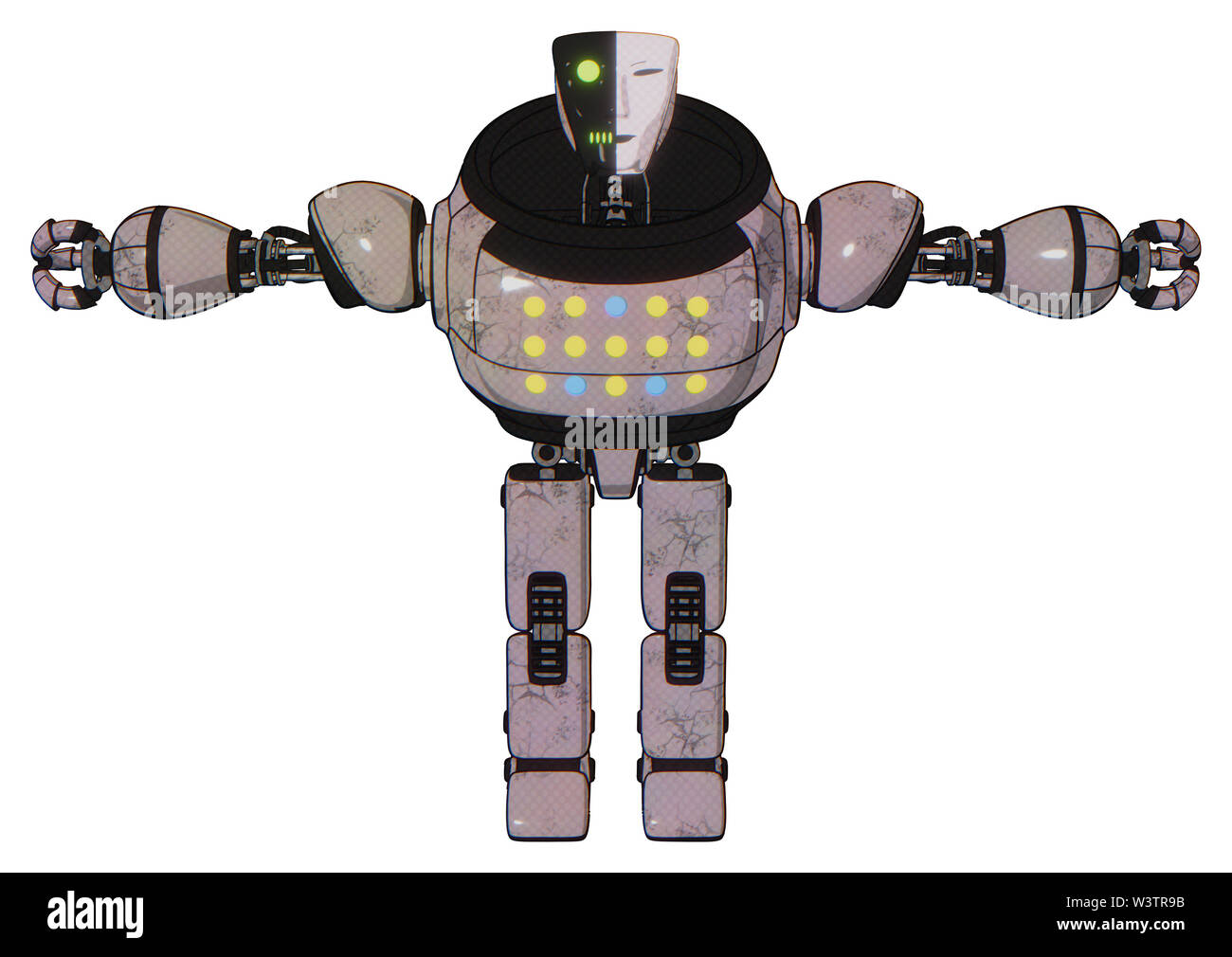 Robot containing elements: humanoid face mask, two-face black white mask, heavy upper chest, colored lights array, prototype exoplate legs. Material:. Stock Photo